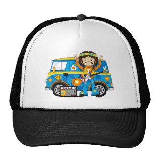 Hippie Boy with Guitar and Camper Van Cap
