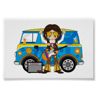 Hippie Boy with Guitar & Camper Van Poster