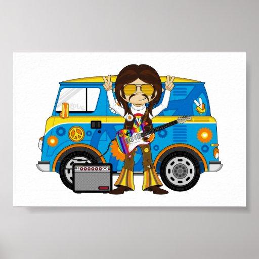 Hippie Boy with Guitar & Camper Van Print
