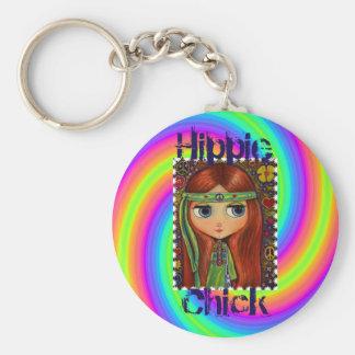 Hippie Chick 1960s Tie Dye Big Eye Doll Headband Basic Round Button Key Ring