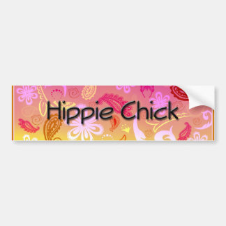 Hippie Chick Paisley Pattern Bumper Sticker