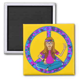 Hippie Chick Square Magnet