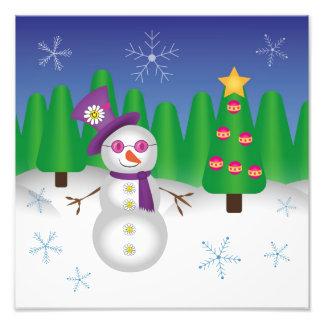 Hippie Christmas Snowman Photo Print