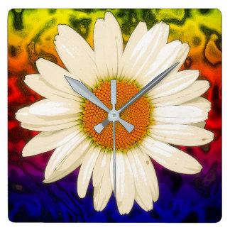 Hippie Daisy Square Wall Clock