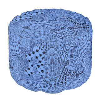 Hippie Dippie Pouf with Blue HippieDippie Design