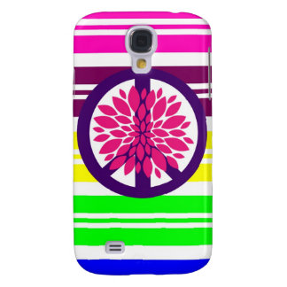 Hippie Flower Power Peace Sign on Rainbow Stripes Galaxy S4 Cases