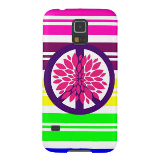 Hippie Flower Power Peace Sign on Rainbow Stripes Cases For Galaxy S5