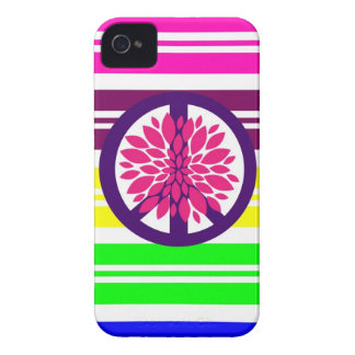 Hippie Flower Power Peace Sign on Rainbow Stripes Case-Mate iPhone 4 Case