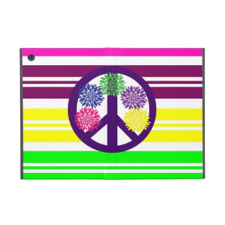 Hippie Flower Power Peace Sign on Rainbow Stripes iPad Mini Case