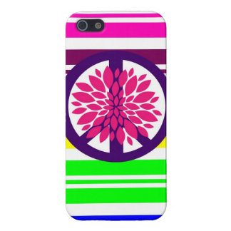 Hippie Flower Power Peace Sign on Rainbow Stripes iPhone 5 Case