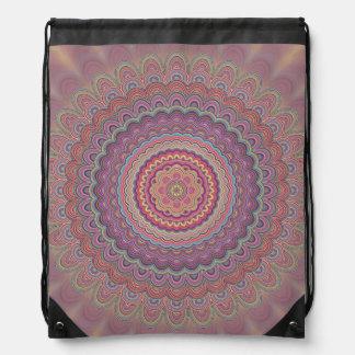 Hippie geometric mandala drawstring bag