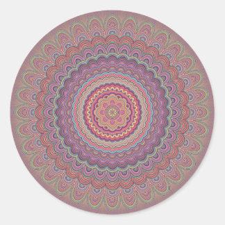 Hippie geometric mandala round sticker