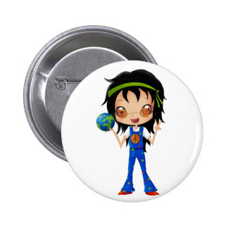 Hippie Girl Kids Peace Earth Button