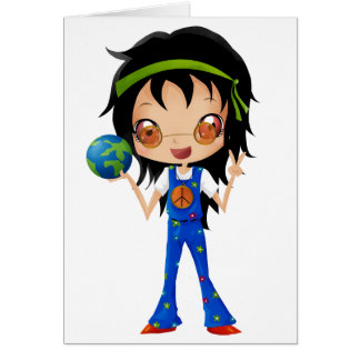 Hippie Girl Kids Peace Earth Card