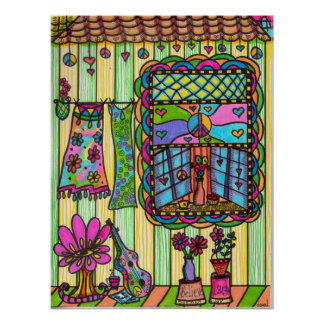 Hippie Girl's Front Porch Poster