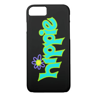 Hippie Graphic Turquoise Lime Green Word Art iPhone 7 Case