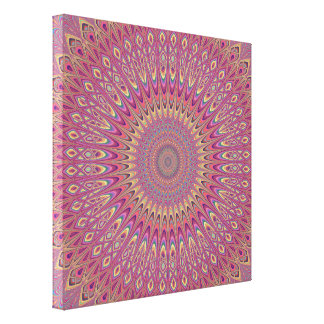 Hippie grid mandala canvas print