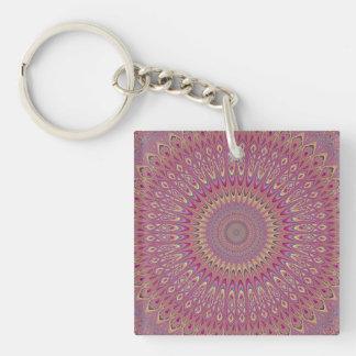 Hippie grid mandala Double-Sided square acrylic key ring