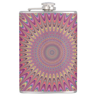 Hippie grid mandala hip flask