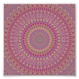 Hippie grid mandala photo print