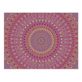 Hippie grid mandala postcard