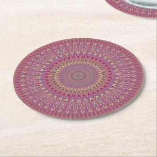 Hippie grid mandala round paper coaster