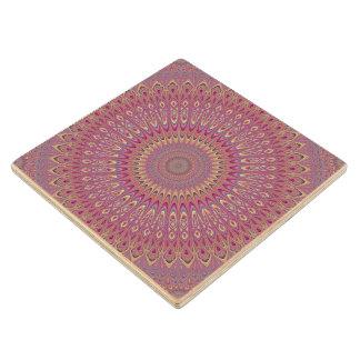 Hippie grid mandala wood coaster