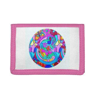 hippie groovy love circle tri-fold wallet