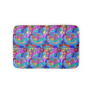hippie groovy psychedelic love bath mats