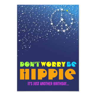 Hippie Happy 75th Birthday Peace Party Invitations