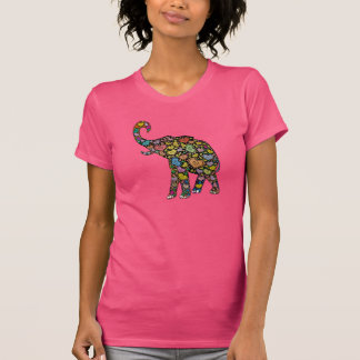 Hippie Heart Pattern Elephant T-Shirt