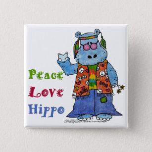 0ba9a876889f Hippie Hippo-Peace, Love, Hippo 15 Cm Square Badge