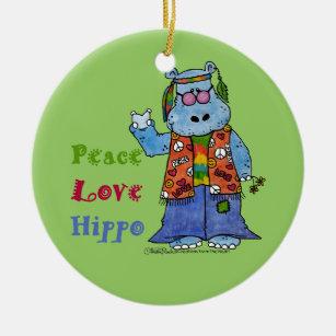 576744601916 Hippie Hippo-Peace, Love, Hippo Ceramic Ornament