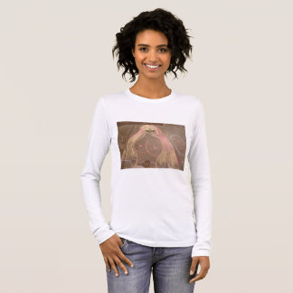 hippie lady goddess groovy chalk drawing long sleeve T-Shirt