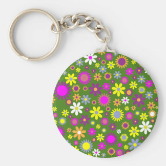 Hippie Love Floral Designed Collection Basic Round Button Key Ring
