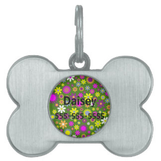 Hippie Love Floral Designed Collection Pet Tags