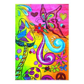hippie mushroom butterfly invitation