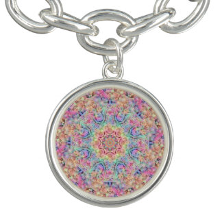 Hippie Pattern Charm Bracelets, round or square