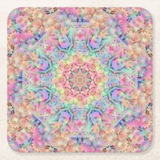 Hippie Pattern  Pulp board Coasters, 2 shapes Square Paper Coaster