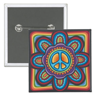 Hippie Peace Flower 15 Cm Square Badge