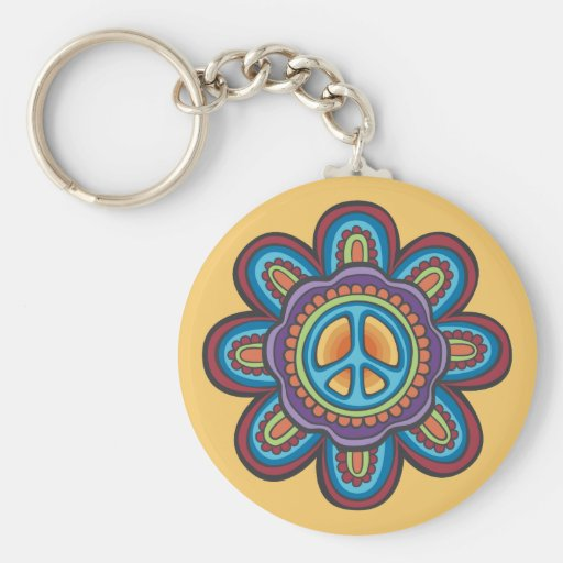 Hippie Peace Flower Basic Round Button Key Ring