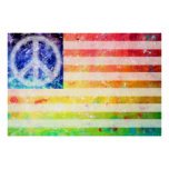 Hippie Peace Freak Flag Art Poster