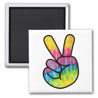 Hippie Peace Sign Button Square Magnet