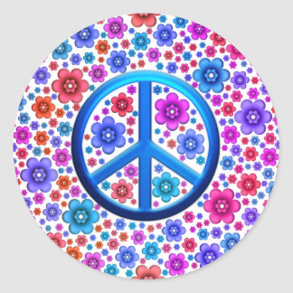 Hippie Peace Sign Round Sticker