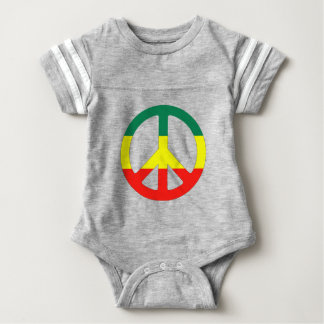 hippie peace sign with reggae flag baby bodysuit