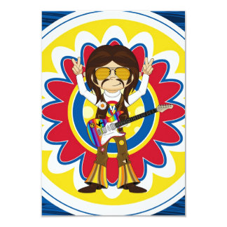 Hippie Rock Star with Guitar Card