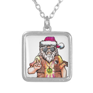 Hippie Santa Silver Plated Necklace