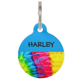 Hippie Tie Dye Personalised Pet Tag