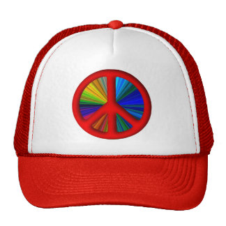 Hippie Trippy Peace Sign Trucker Hats