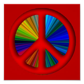 Hippie Trippy Peace Sign Poster